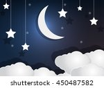 paper cloud crescent moon and...   Shutterstock .eps vector #450487582