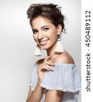 beautiful girl with a charming... | Shutterstock . vector #450489112