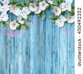 floral watercolor white summer... | Shutterstock . vector #450492352