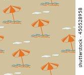 beach umbrella. vector seamless ... | Shutterstock .eps vector #450528958