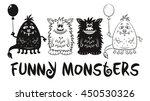 set of cute different cartoon... | Shutterstock . vector #450530326