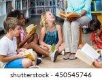 low section of female teacher... | Shutterstock . vector #450545746