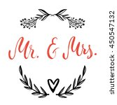 mr and mrs in floral wreath.... | Shutterstock .eps vector #450547132