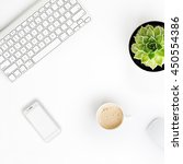 white office desk table with... | Shutterstock . vector #450554386