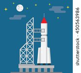 rocket ready to launch on a... | Shutterstock .eps vector #450563986
