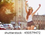 happiness concept   happy woman ... | Shutterstock . vector #450579472