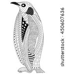 penguin coloring page | Shutterstock .eps vector #450607636