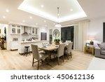 modern living room and kitchen... | Shutterstock . vector #450612136