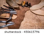 set of leather craft tools on... | Shutterstock . vector #450615796