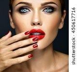 closeup portrait of sensual... | Shutterstock . vector #450617716