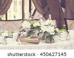 bouquet of white flowers.... | Shutterstock . vector #450627145
