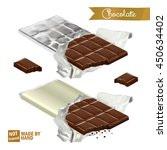 realistic chocolate bar with... | Shutterstock .eps vector #450634402