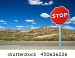 stop traffic sign with blue sky. | Shutterstock . vector #450636226
