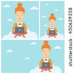 young woman sitting on a cloud... | Shutterstock .eps vector #450639358