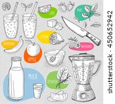 set of stickers in sketch style ... | Shutterstock .eps vector #450652942