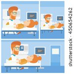 hipster doctor with the beard... | Shutterstock .eps vector #450654262