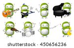 set of green robots conducting... | Shutterstock .eps vector #450656236
