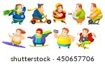 set of illustrations of fat man ... | Shutterstock .eps vector #450657706