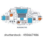 workplace with typewriter. flat ... | Shutterstock .eps vector #450667486