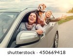 happy family look out from car... | Shutterstock . vector #450669418
