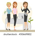 group of three talking women.... | Shutterstock .eps vector #450669802