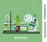 biology laboratory workspace... | Shutterstock .eps vector #450689692