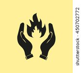 hand and fire icon.    Shutterstock .eps vector #450702772