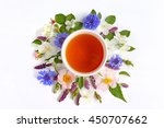 cup of tea with fresh flowers... | Shutterstock . vector #450707662