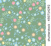 cute floral vector seamless... | Shutterstock .eps vector #450714292