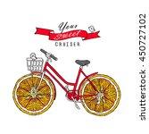 retro bicycle with fruit orange ... | Shutterstock .eps vector #450727102
