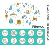 fitness banner in flat style.... | Shutterstock .eps vector #450744946