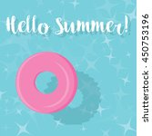 hello summer    pink pool ring... | Shutterstock .eps vector #450753196