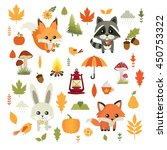 autumn. fall. vector set. cute... | Shutterstock .eps vector #450753322