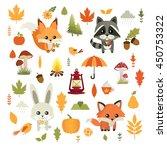 autumn. fall. vector set. cute... | Shutterstock .eps vector #450753322