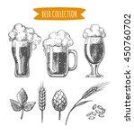 vector set of  hand drawn beer... | Shutterstock .eps vector #450760702