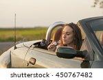traveler woman blowing soap... | Shutterstock . vector #450767482