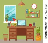 vector colorful office desk... | Shutterstock .eps vector #450768412