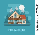 mountain lodge by night. modern ... | Shutterstock .eps vector #450772042