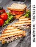 grilled chicken sandwich | Shutterstock . vector #450788512