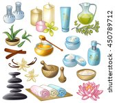 spa salon decorative icons set... | Shutterstock .eps vector #450789712