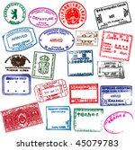 various visa stamps from... | Shutterstock .eps vector #45079783