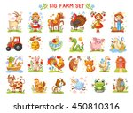 Stock vector set of vector illustrations of farm animals a collection of farm animals and wild animals a big 450810316