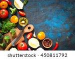 ingredients for cooking. fresh... | Shutterstock . vector #450811792