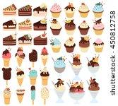 huge cute set of cupcakes ... | Shutterstock .eps vector #450812758