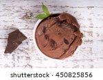 scoop of chocolate ice cream in ... | Shutterstock . vector #450825856