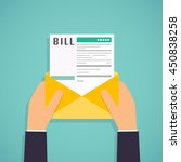 hands holding mail paying bills.... | Shutterstock .eps vector #450838258