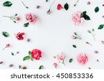 Stock photo round frame wreath pattern with roses pink flower buds branches and leaves isolated on white 450853336
