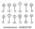 vintage keys or victorian... | Shutterstock .eps vector #450853705