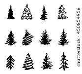 christmas tree icon brush hand... | Shutterstock .eps vector #450854956