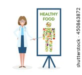 doctor with healthy food banner. | Shutterstock .eps vector #450863872